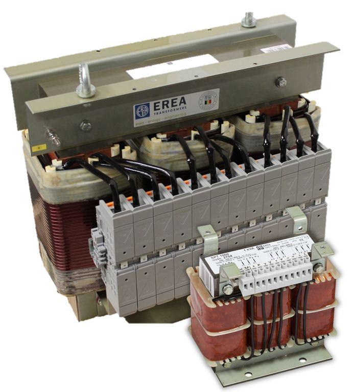EREA TRANSFORMERS - gamme SPT  (Transformateurs de séperation triphasés - 1kVA à 100kVA - primaire 3x230V triangle ou 3x400V  étoile+N  - secondaire 3x230V triangle ou 3x400V étoile+N)
