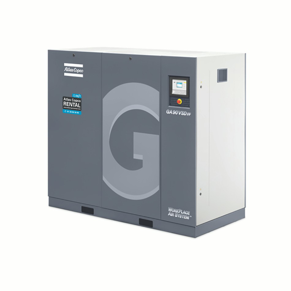 ATLAS COPCO - Location - Compresseur électrique à vis lubrifiées - GA <90 Kw
