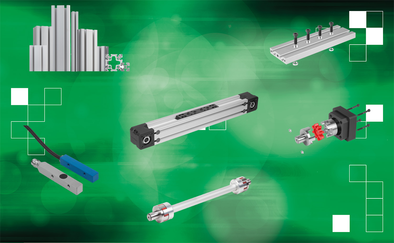 norelem - Axe linéaire avec entraînement à courroie dentée et guidage sur rail profilé