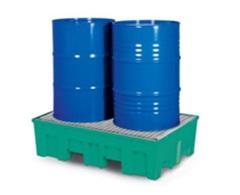 DENIOS - Bac de rétention en polyéthylène vert avec caillebotis galvanisé